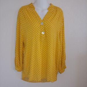 Umgee yellow gold polka dot blouse